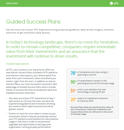 Guided Success Plan Datasheet | Product Brief | PTC