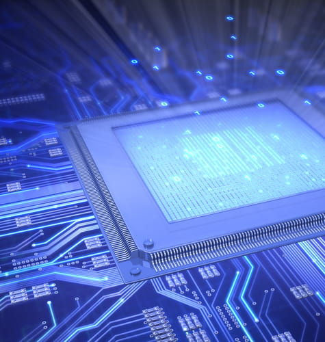 electronics and high tech microchip