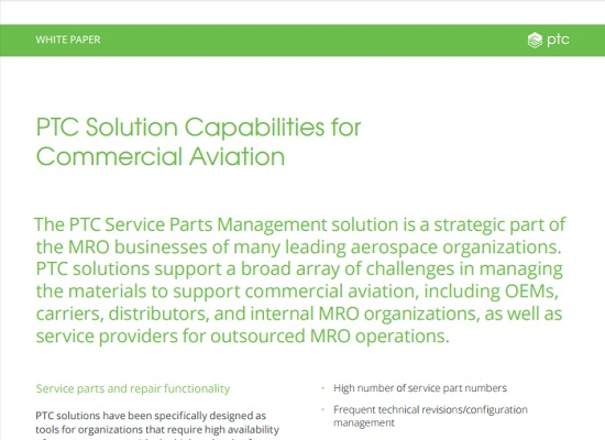 PTC Servigistics: Capabilities for Commercial Air