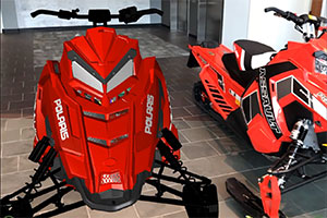 red snowmobile