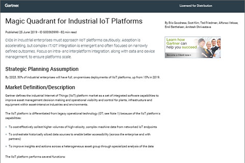 Gartner Magic Quadrant 2019 für Industrial IoT-Plattformen