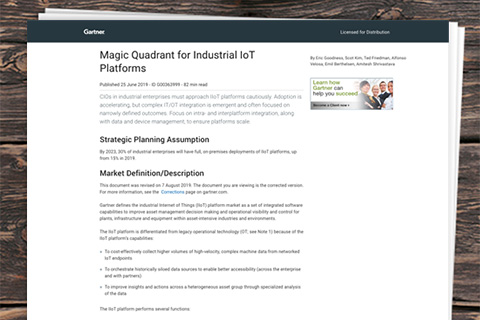 2019 Gartner Magic Quadrant for Industrial IoT Platforms