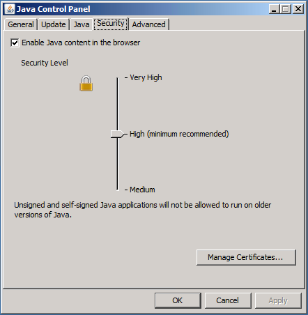 Java Control Panel - Security Settings