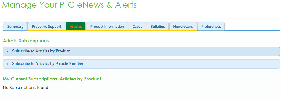 Manage Your PTC eNews and Alerts