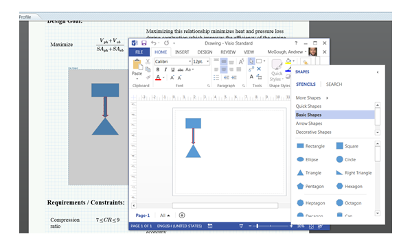 Mathcad with a Visio diagram embedded